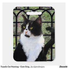 Tuxedo Cat Painting - Cute Original Cat Art Seat Cushion - Stadium & Seat Cushions Gift Idea. Stadium Seat Cushions, Stadium Seats, Kittens Cutest, Cats And Kittens, Logo For School, Original Paintings, Original Art, Cat Art, Tuxedo