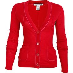 Perfect cardigan for ladies with ample bosom. V neck, with largish buttons, in a fun color (not black).