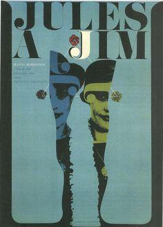 Jules And Jim. Czech poster for Francois Truffaut's film, starring Jeanne Moreau.