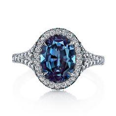 Platinum, diamond and Alexandrite oval ring Alexandrite Oval- 2.45 cts. Measurement- 9.42 x 7.09 x 4.79 MM Round Alexandrites- 0.42 cts. Round Diamonds- 0.67 cts. Platinum