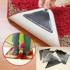 Rug Carpet Mat Grippers Non Slip Anti Skid Reusable Washable Silicone Grip 4 Pairs