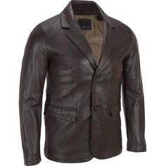 Wilsons Leather 2Button Smooth Lamb Blazer (23.900 RUB) ❤ liked on Polyvore featuring men's fashion, men's clothing, men's sportcoats, leather mens clothing and mens leather apparel