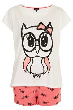 Owl Print PJ Tee And Shorts