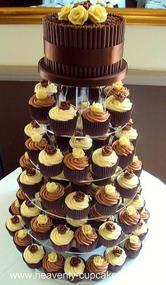 Chocolate Rose Cupcake Tower-Nottingham #chocolates #sweet #yummy #delicious #food #chocolaterecipes #choco #chocolate