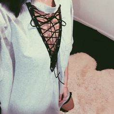 Custom Made Vintage Lace Up Tee Hand picked reworked vintage Fit like an oversized large Feel free to ask me any questions Thanks for browsing my closet! Happy Poshing Vintage Tops Tees - Short Sleeve