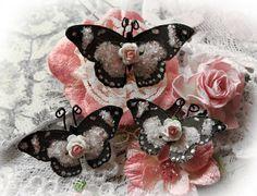 Butterfly Set My Romantic Heart Glitter Glass Butterflies Scrapbook Embellishment Tag, Card, Mini Album, Wedding