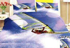 Ložní povlečení modro fialové barvy se surfařem na moři