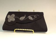 Corde Creation Black and Silver Clutch Evening Bag Black Cord With Silver Embroidered Flower Leaves Corde Creation Evening Bag by WhiteCabbageVintage on Etsy