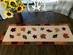 Quilted Table Runner /Quilted Table Topper /Falling Leaves