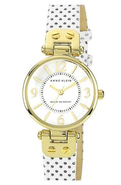 I like polka dots. Anne Klein Colored Leather Strap Watch available at #Nordstrom