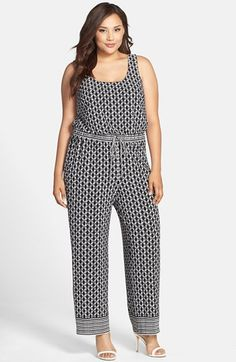 London Times Print  Drawstring Waist Tank Jumpsuit (Plus Size) available at #Nordstrom