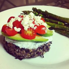 black bean burger by jillian Michael 30 day shred eating plan .....so good! ( link to plan here too if you want to get started)