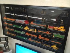 Amazon.com - HO Scale Train Display Case Cabinet Wall Rack w/ UV Protection- Lockable -Cherry - Wall Mounted Cabinets