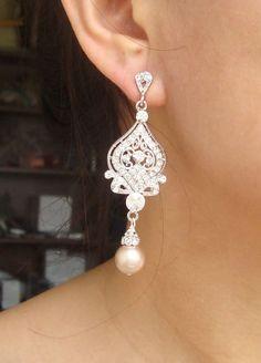 Vintage Wedding Bridal Earrings, Champagne Pearl Earrings, Rhinestone Chandelier Wedding Earrings, Hollywood Glamour Jewelry, JACQUELINE. $62.00, via Etsy.