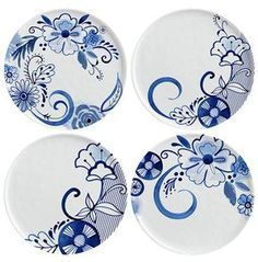 Margaret Berg Art: Contemporary blue and white plate set Painted Plates, Ceramic Plates, Porcelain Ceramics, Ceramic Pottery, Hand Painted Ceramics, Fine Porcelain, Porcelain Tile, Pottery Painting Designs, Pottery Designs