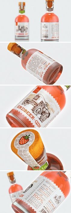 Erdbeer-Gin packaging by Lonely Bird Studio