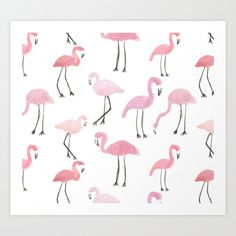 Flamingos Art Print by Abby Galloway | Society6