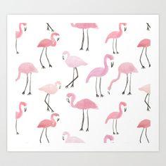Flamingos Art Print by Abby Galloway | Society6