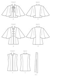 McCall's Sewing Pattern Misses' Stand-Up Collar Capelets, Vest and Belt Jacket Style, Vest Jacket, Mccalls Sewing Patterns, Bias Tape, Princess Seam, Pattern Library, Coat Patterns, Learn To Sew, Steampunk Fashion
