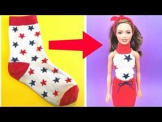 How to make Barbie clothes with socks. In this video How to turn those old unpaired socks into stylish clothes for your Barbie doll. Very easy no sew and sew. Barbie Top, Barbie Shoes, Doll Shoes, Barbie Dress, How To Make Clothes, Diy Clothes, Sewing Barbie Clothes, Unicorn Hoodie, Stylish Outfits