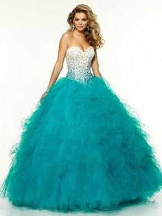 2015 Style Ball Gown Sweetheart Floor-length Tulle Prom Dresses/Evening Dresses #QA075