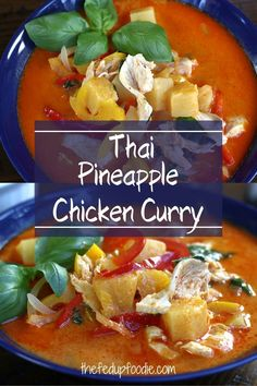 This authentic tasting Thai Pineapple Chicken Curry recipe is exquisite and ready in under 30 minutes! #PineappleChickenCurry #ChickenCurryRecipe #PineappleCoconutChickenCurry #PineappleCoconutCurry #ThaiChickenCurry #BestChickenCurryRecipe #ThaiChickenCurrywithCoconutMilk Curry Recipes, Meat Recipes, Fall Recipes, Indian Food Recipes, Asian Recipes, Real Food Recipes, Best Chicken Curry Recipe, Pork And Beef Recipe, Best Chicken Recipes