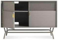 Shop the Dang Media Stand by Blu Dot at The Dang Media storage cabinet makes a fine addition to living room or office. Bench With Storage, Hidden Storage, Storage Design, Steel Doors, Contemporary Interior, Storage Solutions, Modern Design, Shelves, Room