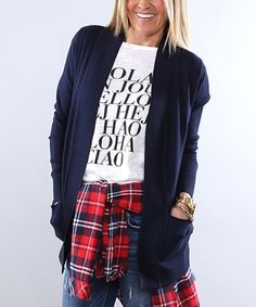 Look at this Coco and Main Navy Pocket Open Cardigan on #zulily today!