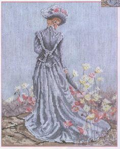 0 point de croix femme romantique vintage - cross stitch vintage romantic lady