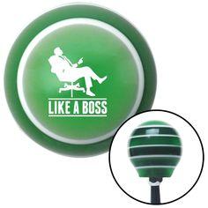 White Like A Boss Green Stripe Shift Knob with M16 x 15 Insert