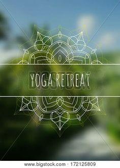 Tropical Yoga Retreat Banner Sacred Geometry Mandala On Realistic Tropic Background Sunny Jungle