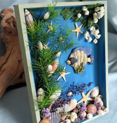 Striped Tropical Fish and shells Shadow by CarmelasCoastalCraft