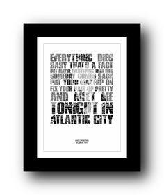 BRUCE SPRINGSTEEN Atlantic City - Typography poster art prints from PHOOG