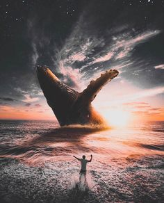 Image may contain: cloud, sky, ocean, outdoor, water and text Surreal Photos, Surreal Art, Space Artwork, Cool Artwork, Giant Animals, Whale Art, Photo Manipulation, Creative Photography, Photography Tips