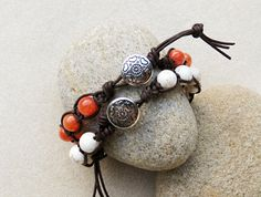 White Howlite and Brown Leather Shamballa Style Bracelet with Southwestern Button, Handmade Jewelry by CreativeGypsy on Etsy