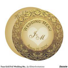 Shop Faux Gold Foil Wedding Menu created by GlitterInvitations. Glitter Invitations, Wedding Menu Cards, Art Reproductions, Gold Foil, Graphic Art, Artwork, Beautiful, Art Work, Work Of Art