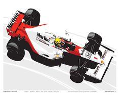 The Curb Shop - Ayrton Senna / McLaren Limited Print by Stuart Macey Formula 1, Sport Cars, Race Cars, Car Iphone Wallpaper, Gp F1, Gilles Villeneuve, Mclaren Mp4, Mc Laren, Classic Motors