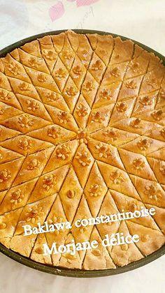 Recette de baklawa algérien aux amandes avec un schéma de la découpe du gâteau afin d'obtenir une belle rosace. Une baklawa algérienne facile au miel