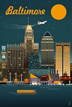 Baltimore, Maryland - Retro Skyline - Lantern Press ArtworkQuality Poster Prints Printed in the USA on heavy stock paper Crisp vibrant color image that is resistant to fading Standard size print, ready for framing Perfect for your home, office, or a gift Baltimore Skyline, Baltimore Maryland, Baltimore City, Baltimore Food, Baltimore Inner Harbor, Wall Art Prints, Poster Prints, Poster Wall, Framed Prints