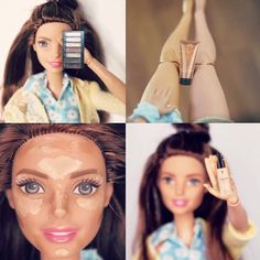 Sunday Funday!! Even Barbie knows how use our liquid gold foundation, tan a…