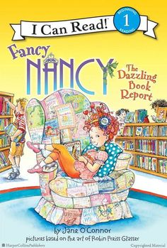 FANCY NANCY: THE DAZZLING BOOK REPORT by Jane O'Connor Illustrated by Robin Preiss Glasser. When Nancy has to write a book report about Sacajawea, she is excited to use her fabulous art skills to make a spectacular finished product, but everything does not goes as planned! Browse full Fancy Nancy titles: http://harpercollinschildrens.com/Search/SearchResults.aspx?TCId=100&ST=1&SKw=fancy%20nancy
