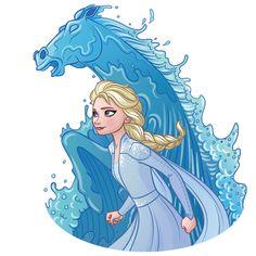 Elsa and Nokk the Water Spirit Horse from Frozen 2 Elsa Frozen, Frozen Art, Disney Frozen, Kristoff Frozen, Frozen Movie, Frozen Drawings, Disney Drawings, Disney Sidekicks, Disney Crossovers