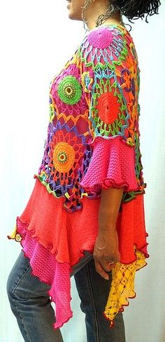 Brenda Abdullah upcycles sweaters into gorgeous, colorful tunics.