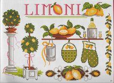 Lemon theme pattern / chart for cross stitch, crochet, knitting, knotting, beading, weaving, pixel art, micro macrame, and other crafting projects.