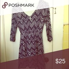 Navy and white patterned dress This pre-loved, gently used navy and white patterned dresses is one of my favorites. Three quarter length sleeve and a keyhole feature with button on front. Everly Dresses Mini