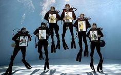 Royal Navy Divers promo shot for stamps bearing Naval uniforms.