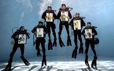 Royal Navy Divers promo shot for stamps bearing Naval uniforms.