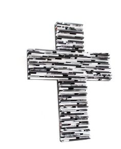 Cross from recycled magazines