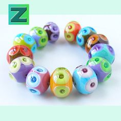 Bubble Chunks 13 old school bubble-dot beads lampwork by zbeads