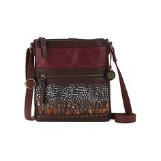 The Sak Pax Leather Swing Pack Crossbody Handbags (85 CAD) ❤ liked on Polyvore featuring bags, handbags, shoulder bags, cabernet feather patch, leather crossbody, leather shoulder handbags, leather crossbody handbags, leather cross body purse and red crossbody